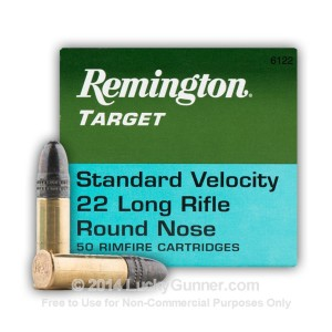 .22 LR 40 gr Lead Round Nose Remington Target 50 Rounds